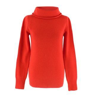 Prada Bright Red Cashmere Turtleneck Jumper