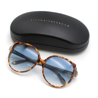 Victoria Beckham Oversize Tortoiseshell Frame Sunglasses