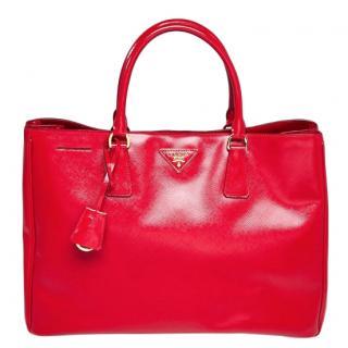 Prada Rosso Saffiano Vernice Leather Large Tote Bag