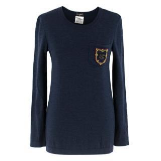 Chanel Navy Wool Jumper W/ CC Badge