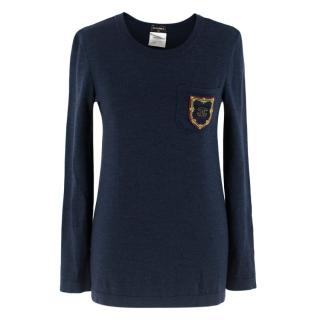 Chanel Navy Wool Jumper W/ CC Badge