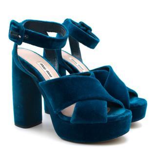 Miu Miu Blue Velvet Platform Sandals