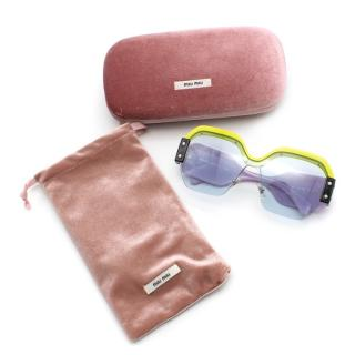Miu Miu Green & Purple Sorbet Square Sunglasses