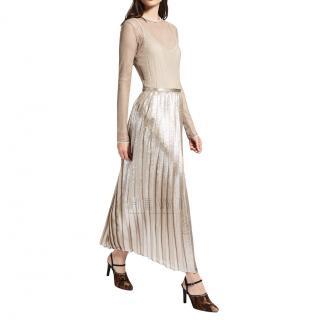 Max Mara Faro Georgette Pleated Skirt