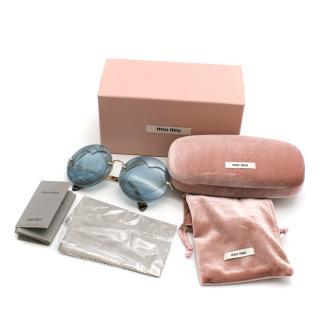 Miu Miu Two-Heart Overlay Round Sunglasses