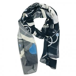 Chanel Printed Silk CC Scarf