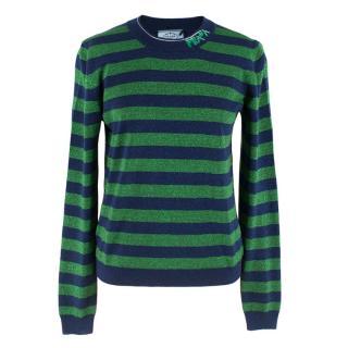 Prada Green & Blue Glitter Striped Jumper