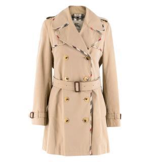 Burberry Classic Long Beige Trench Coat W/ Nova Check Trim