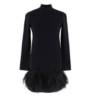 Louis Vuitton Black Knit turtleneck Dress with feathers