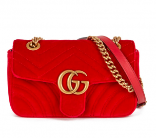 Gucci Red Velvet Mini Marmont Shoulder Bag