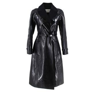 Valentino Black Vinyl Trench Coat