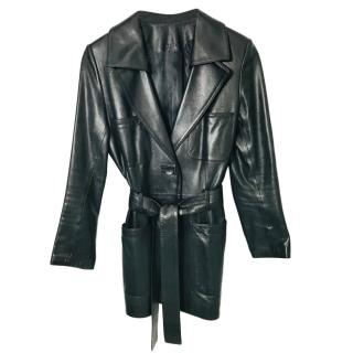 JItrois Black Leather Tie-Front Jacket