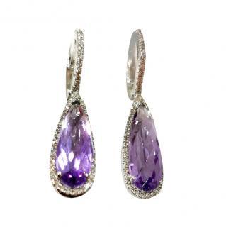 Bespoke amethyst & diamond drop earrings
