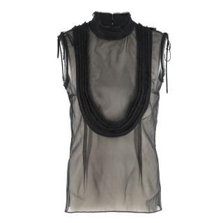 Emilio De La Morena Black Silk Sheer Sleeveless Top