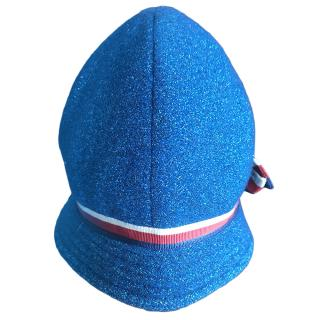 Gucci Girl's Blue Glitter Web Stripe Cap
