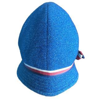 Gucci Girl's Blue Glitter Web Stripe Cap