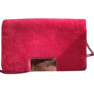 Furla Pink Faux Fur Shoulder Flap