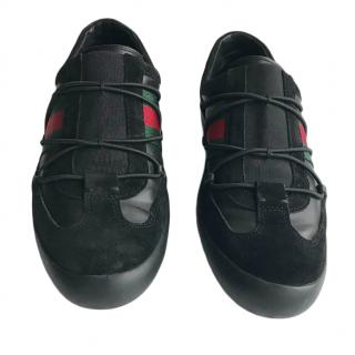 Gucci Black Webstripe Slip-On Sneakers