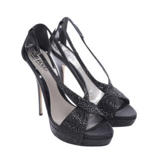 Gucci Black Sequin Embellished Sandals