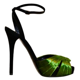 Ralph Lauren Collection runway black suede & emerald velvet shoes