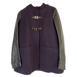Maje Hooded Jacket W/ Leather Sleeves