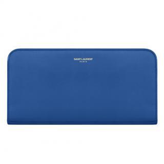 Saint Laurent Royal Blue Leather Zip Around Wallet