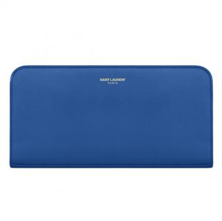 Saint Laurent Royal Blue Leather Zip Around Wallet