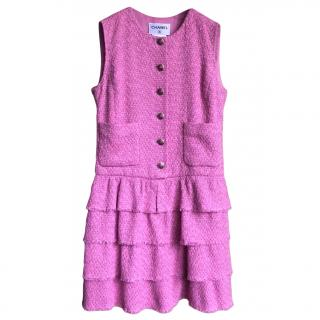 Chanel pink tweed Lesage dress with silk camelia lining