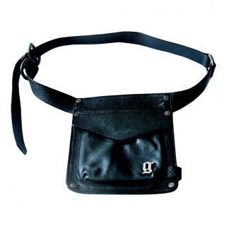 John Galliano Grained Leather Black Belt Bag