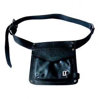 John Galliano Grained Leather Black Belt Bag