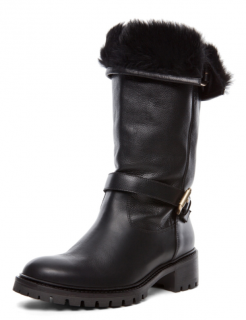 Fendi Biker boots with rabbit fur lining
