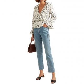 Rixo x Laura Jackson Roisin ruffled printed cotton-voile top