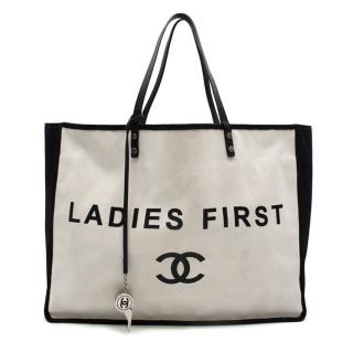 Chanel Ladies First Black & White Canvas Shopper Tote
