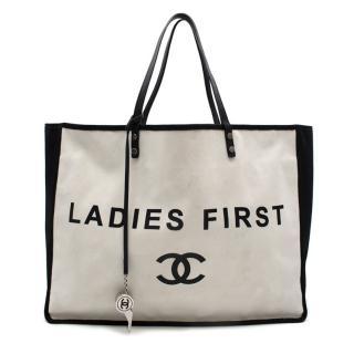 Chanel Ladies First Black & White Canvas Shopper Tote