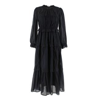 Isabel Marant Etoile Black Long Ruffled High Neck Dress