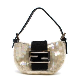 Fendi Mini Coissant Light Beige Sequin Bag