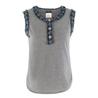 Chanel Grey Tweed Trim  Top