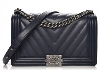Chanel Black Chevron Boy Bag