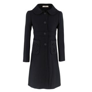 Prada Black Flower Patch Pocket Wool Coat