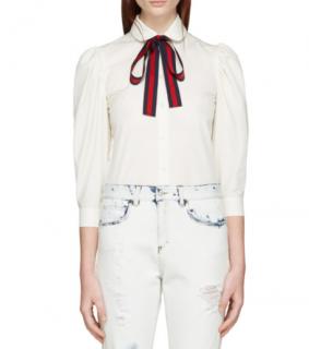 Gucci Poplin Shirt With Web Stripe Neck Bow