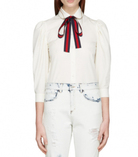 Gucci Poplin Shirt With Web Stripe Neck Bow