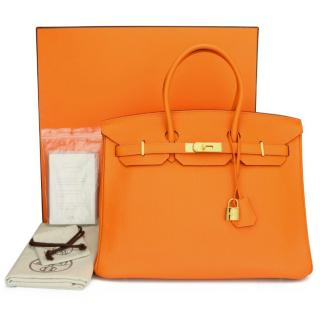 Hermes Orange Togo Leather 35 cms Birkin