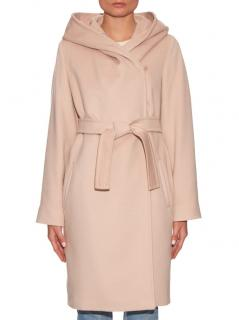 MaxMara hooded virgin wool/silk/angora blend pink coat