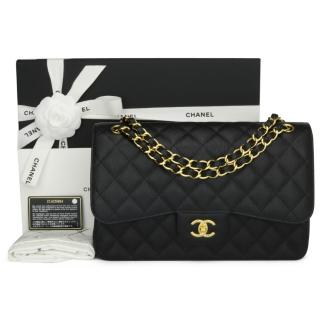 CHANEL Black Caviar Classic Double Flap Jumbo Bag