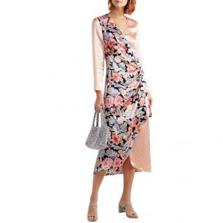 Rixo Betty Printed Satin Wrap Midi Dress