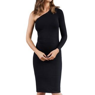 Isabella Oliver Black One Shoulder Long Sleeved Maternity Dress
