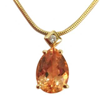 H Stern Imperial Topaz and diamond Pendant and chain