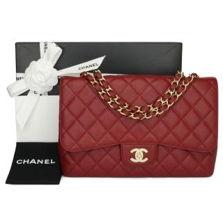 Chanel Dark Red Caviar Leather Jumbo Single Flap Bag