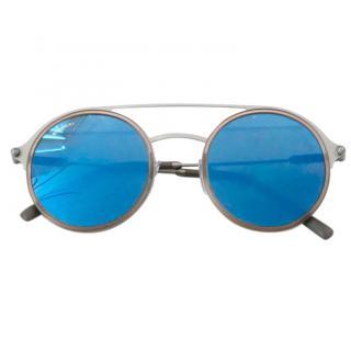 Bvlgari blue lens semi mirrored round sunglasses