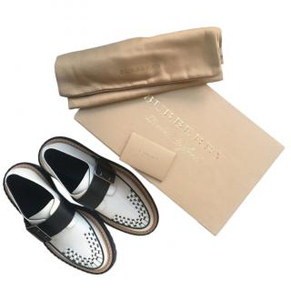 Burberry Black & White Woven Leather Brogues